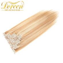 Doreen 70G Mix Color #P27/613 Clip In Human Hair Extensions Straight 100% Brazilian Remy Hair 14-22 Inches Could Be Curly