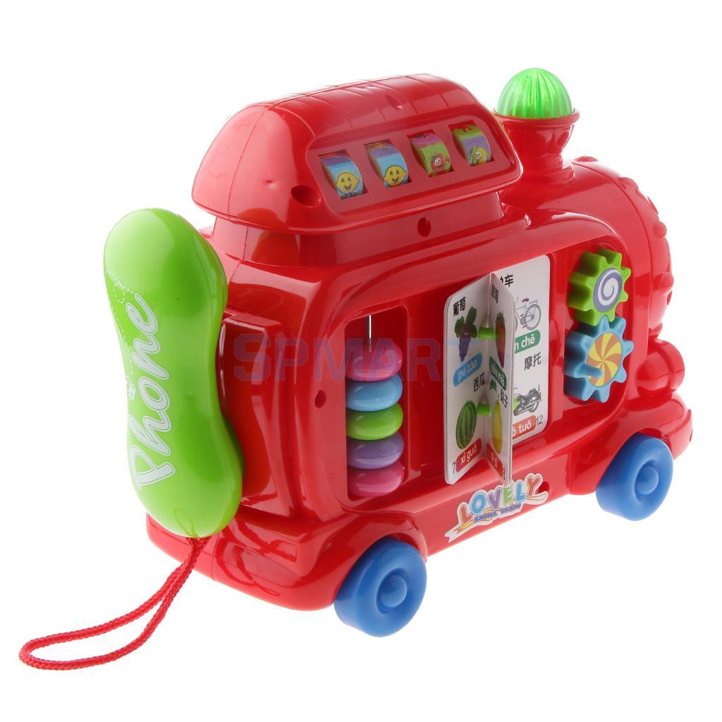 Multicolored Multifunction Cartoon Train Telephone for Kids Developmental Early Learning ...