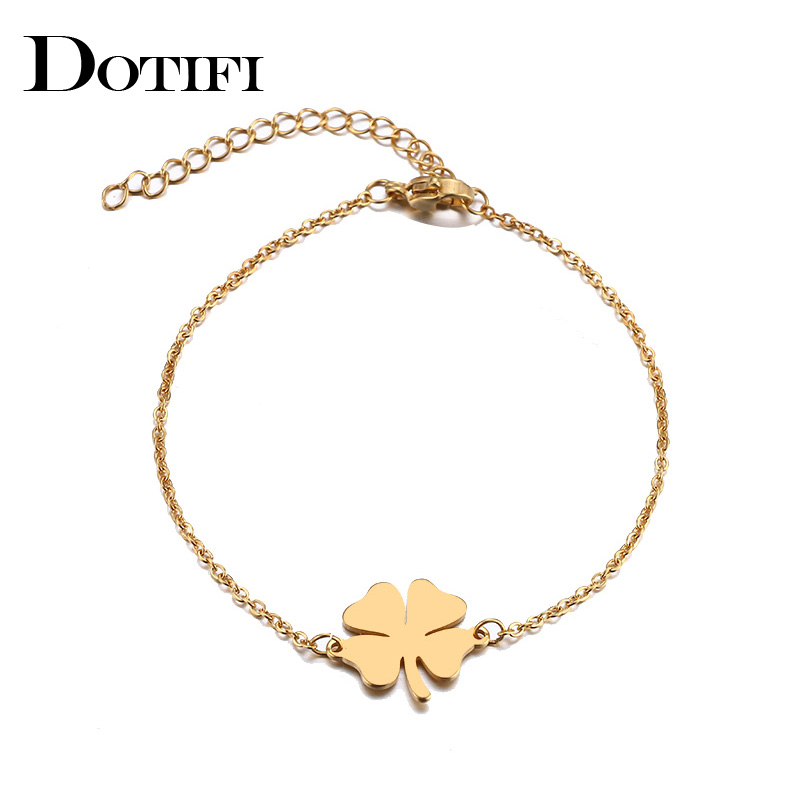 DOTIFI For Women Stainless Steel Bracelet Lucky Clover Gold and Silver Pulseira Feminina Lover Engagement Jewelry(China)