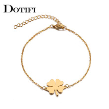 DOTIFI Stainless Steel Bracelet For Women Man Clover Gold And Silver Color Pulseira Feminina Lover's Engagement Jewelry