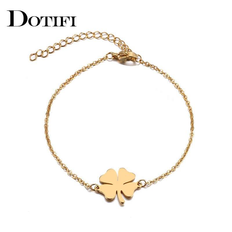 DOTIFI bransoleta ze stali nierdzewnej dla kobiet Man Clover złoty i srebrny kolor Pulseira Feminina Lover's biżuteria zaręczynowa