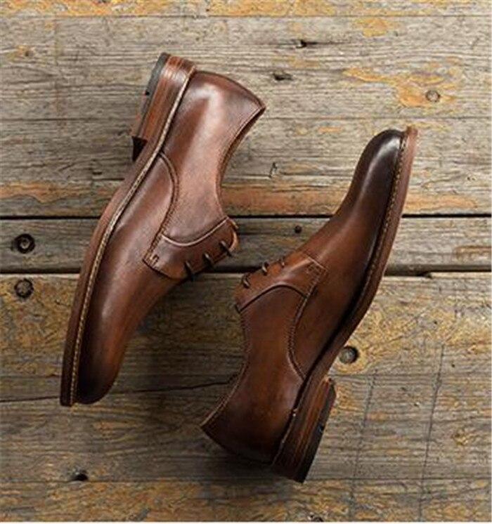 De Partida Preto Negócios Vestido Casuais Plana A Sapatos Toda Do up Lace Dedo chocolate Pontas Homens Pé Oxfords 5U1c65Z