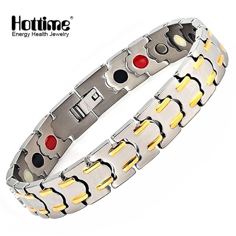 Hottime Stainless Steel Healthy Magnet Bracelet Men Jewelry Bio Energy Magnetotherapy Father's day Gift 10175 hottime black