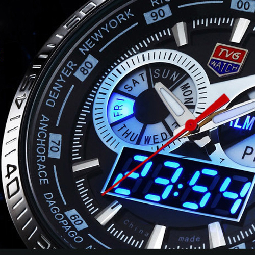 Hot TVG Male Sports Watch Men Full Stainless Steel Vattentät Quartz - Herrklockor - Foto 5