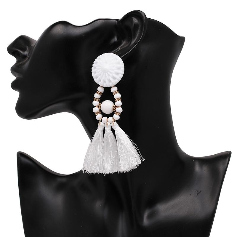 JUJIA 2020 Wanita Etnis Vintage Panjang Menjuntai Fringe Earrings - Perhiasan fashion - Foto 5