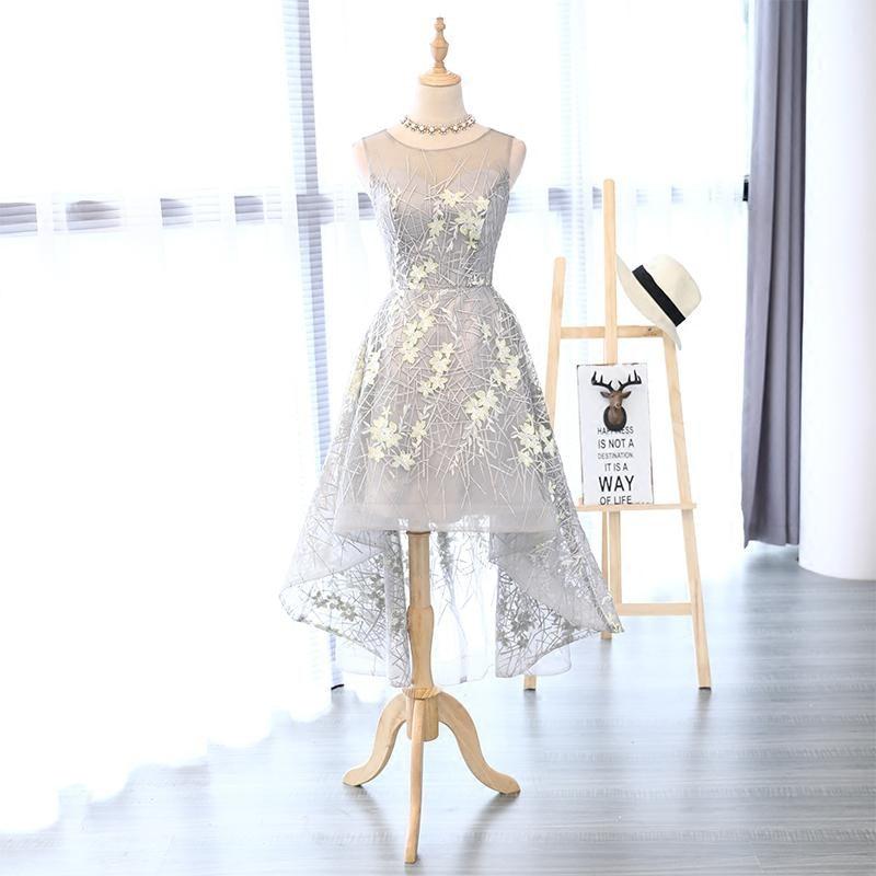 I lager Really Photo Silvery Scoop Neck Tulle Med Appliques Broderi - Särskilda tillfällen klänningar - Foto 1
