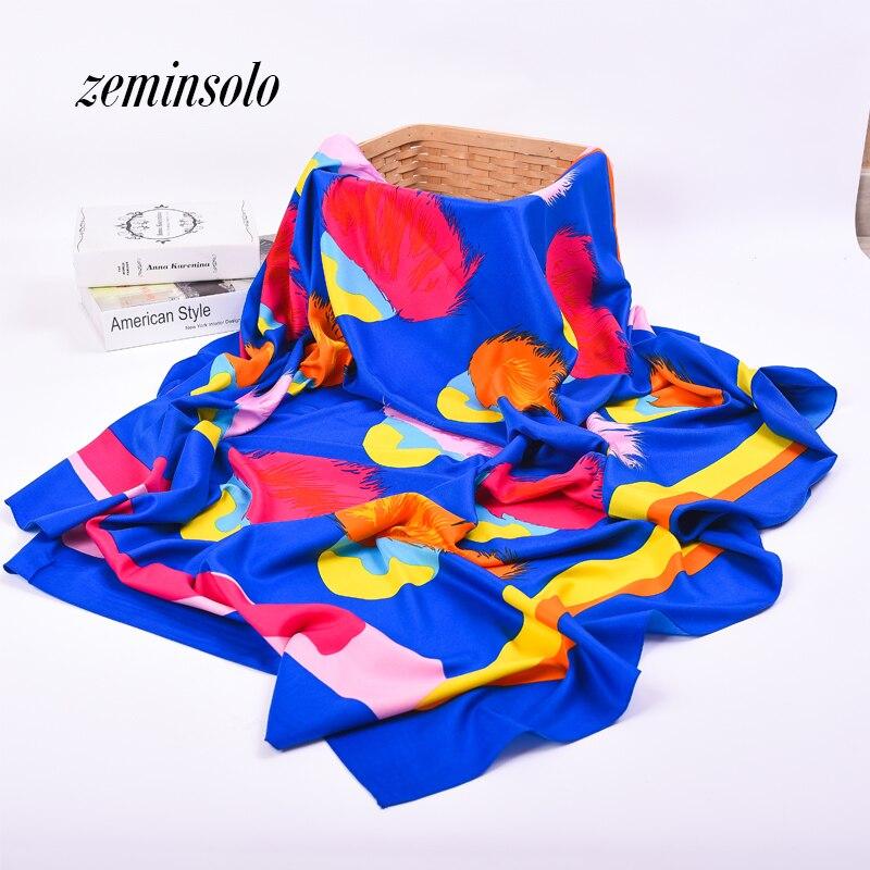 Hedvábný šátek dámský šátek luxusní značka šátek 130 * 130cm jaro šál Bandana Foulard Femme Echarpe barevný tisk dlouhý hidžáb