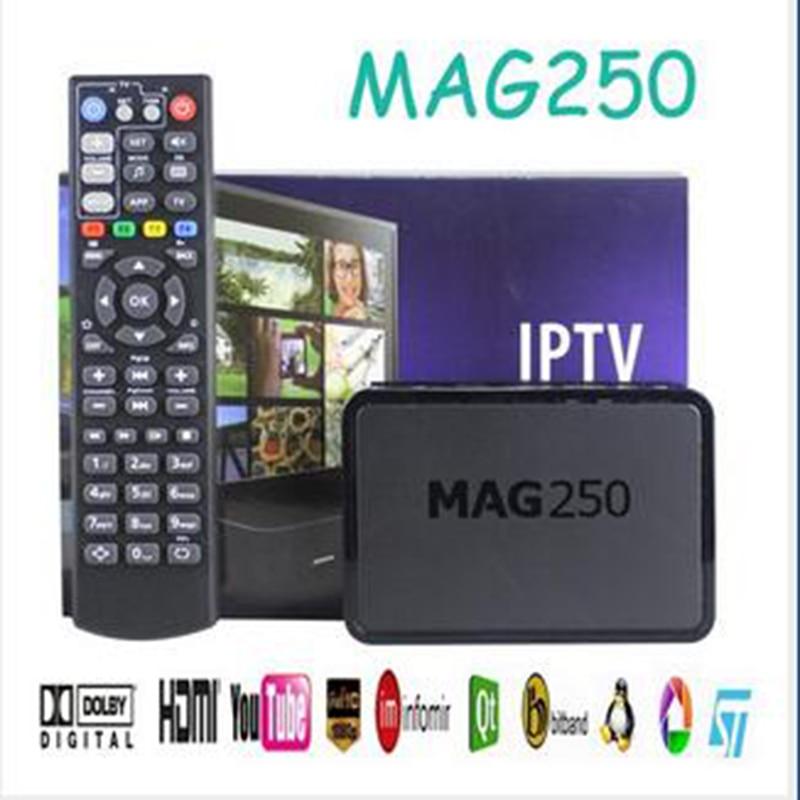 2019 Best Linux Mag250 Set Top Box IPTV Box Support USB WiFi Europe IPTV Sweden France UK Arabic Mag 250 Media Player