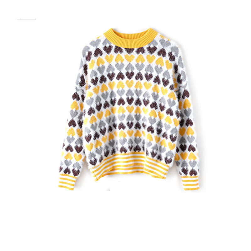 Jumper Love Thick Knitted Warm Spring Pullovers Star Women's Yellow Sleeve Outwear Sweaters Sweet Female Long Soft Tops 2019 xAq7wS50S