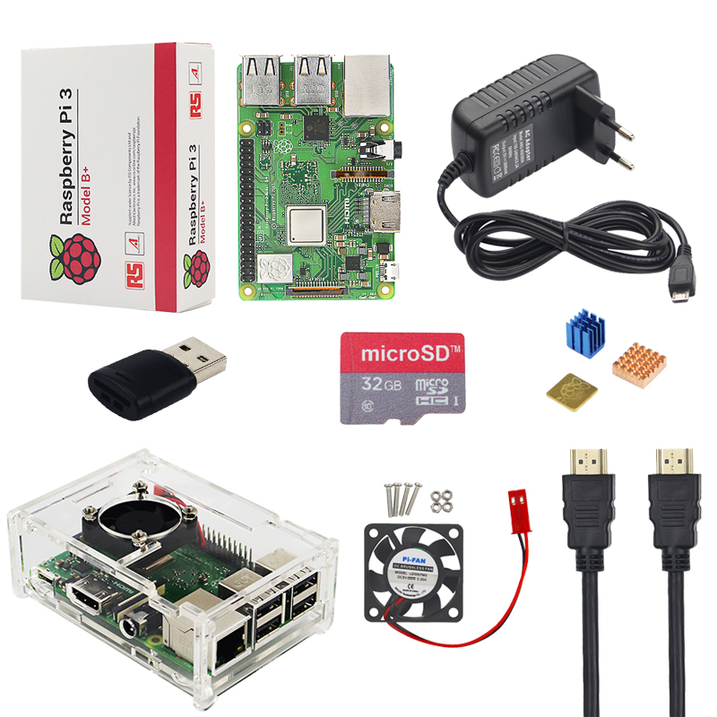 Raspberry Pi 3 Model B+ Plus + Acrylic Case + Fan + SD Card +3A Power Adapter + HDMI Cable + Heat Sink for Raspberry Pi 3 B+ 40 pin data cable for raspberry pi b multi color 30cm