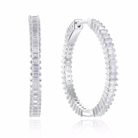 Hot New 925 sterling silver Hoop Earrings Made with Clear AAA Cubic Zirconia Trendy Party Earrings sterling silver jewelry