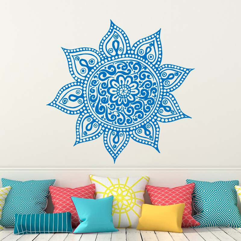 Bohe Mandala Flower Wall Paper Decor Yoga Studio Vinyl: ᐃMandala Vinyl Wall ༼ ộ_ộ ༽ Sticker Sticker Lotus Flower