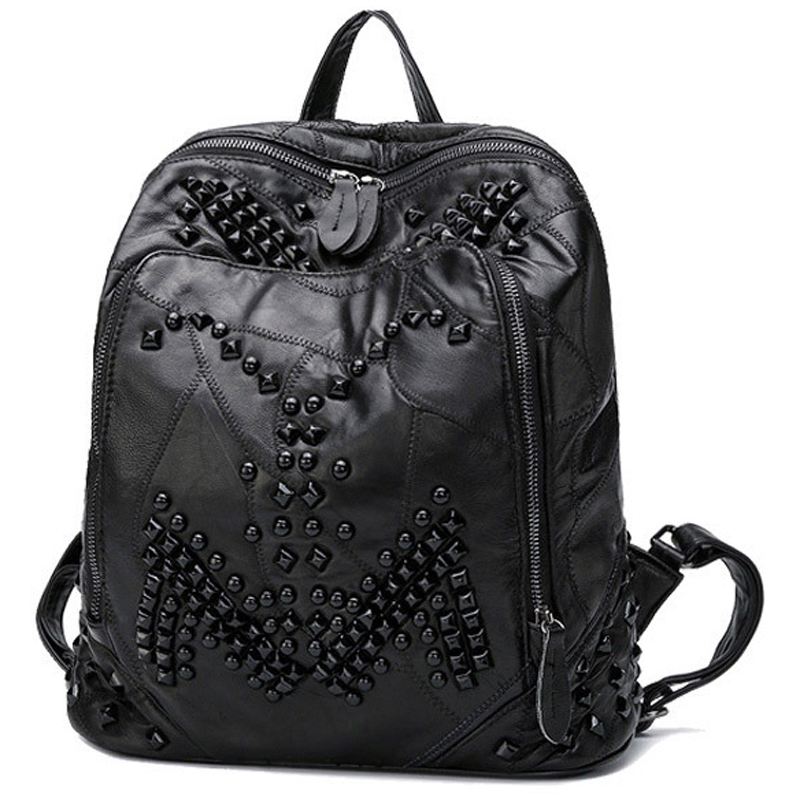 2017 New Black Backpack Women Genuine Leather Shoulder bag Fashion Rivets TOP layer leather bags Sheepskin