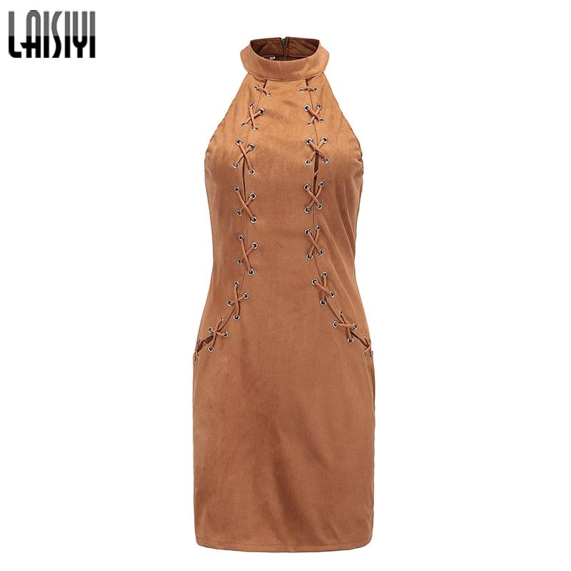 LAISIYI Lace Up Sleevless Slim Halter Dress Fashion Lace Up Sleeveless Slim Bodycon Black Dresses Work Office Ladies ASDR20628