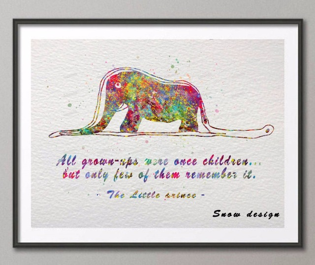Elephant Quotes | Original Watercolor The Little Prince Boa Elephant Quote Poster