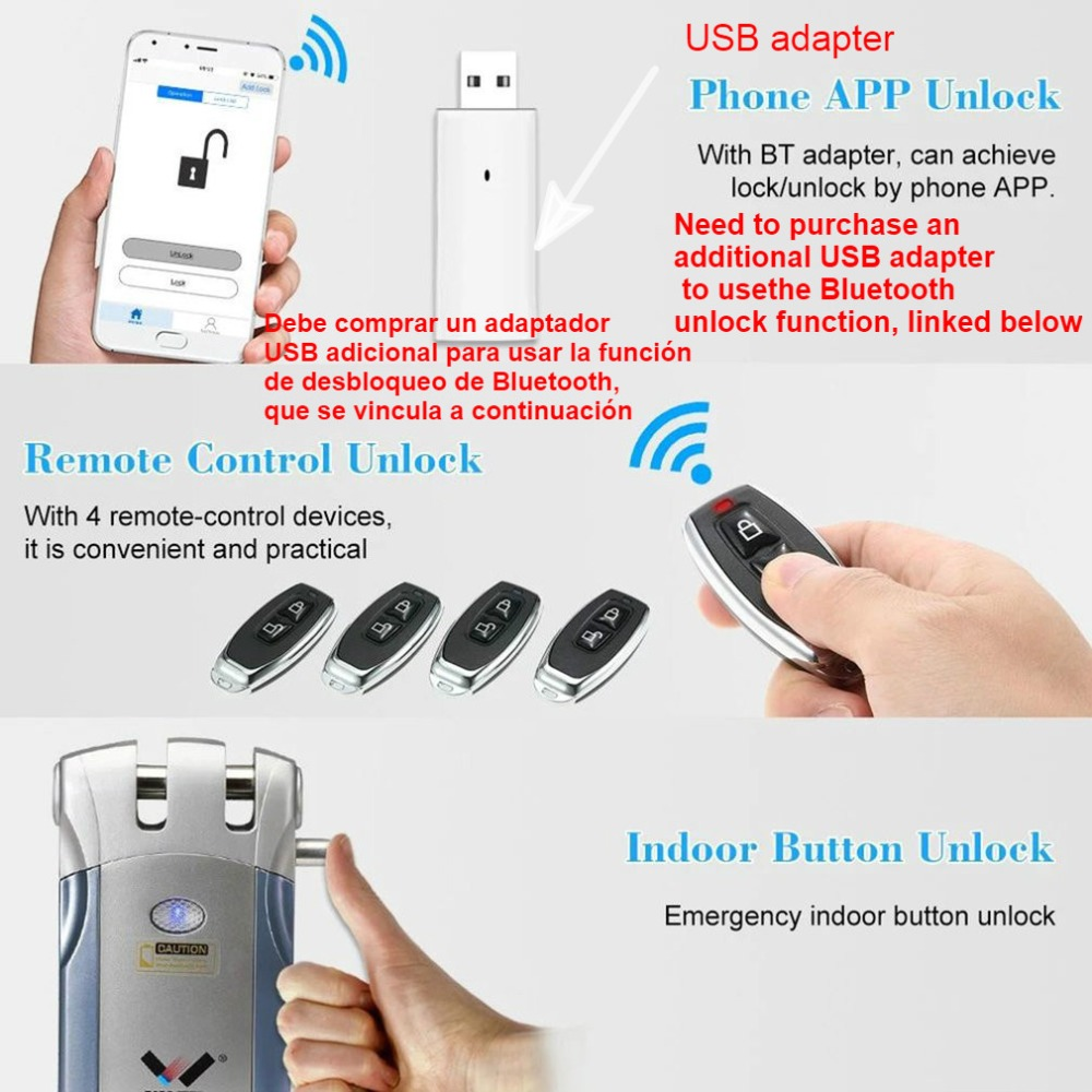 WAFU 018 inalámbrica de Control remoto electrónico cerradura Invisible sin llave cerradura de puerta de entrada con 4 controladores remotos sin usb conject - 4