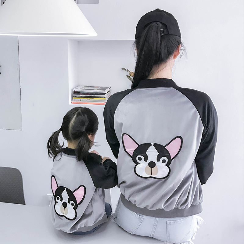 2018 family matching clothes Mother and daughter coat embroidery dog mom and son raglan kids outfits family look girls jacket мертвые не кусаются
