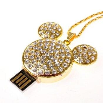 Jewelry USB Flash Drive 64GB Diamond Mickey Creativo USB Key Necklace Pen Drive 32GB Memory Stick 8GB Pendrive 2TB 1TB Girl Gift