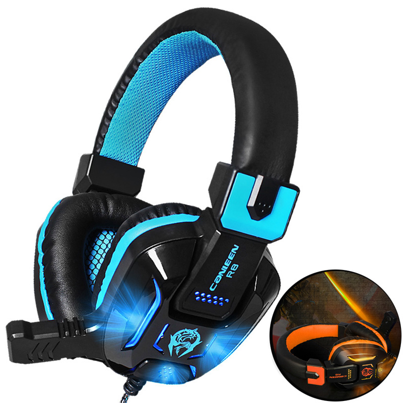Canleen R8 Gaming Headset Deep Bass Casque Stereo Computer Game Headphones with Microphone LED Light for PC Laptop