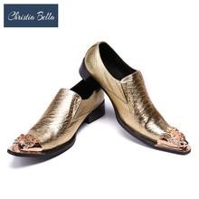 Christia Bella Italian Formal Men Dress Shoes Genuine Leather Pointed Toe Business Wedding Oxford Shoes Men Flats Gold Sliver