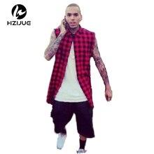 HZIJUE Side Zipper Plaid High Quality Star Look Men Hip Hop Skateboard Streetwear Swag Tshirt Top Tees T-shirt Men Tyga Fashion