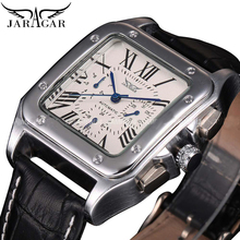 купить Jaragar Hot Sale Square Bezel Automatic Mens Watch Roman Numerals Date Black Leather Self Winding Wrist Watches Mechanical Clock по цене 1383.39 рублей