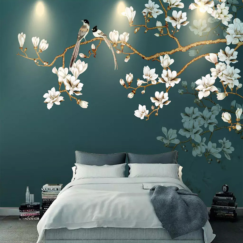 Custom Photo Wallpaper 3D Stereo Flowers Bird Landscape Murals Living Room Elder's Room Classic Wall Papers For Walls 3 D Decor
