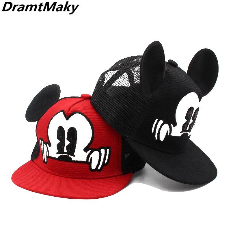 Cartoon mickey   Baseball     Caps   Children kids Snapback Hip Hop Hat boys girls Summer Breathable Mesh Sun Gorras Unisex Streetwear