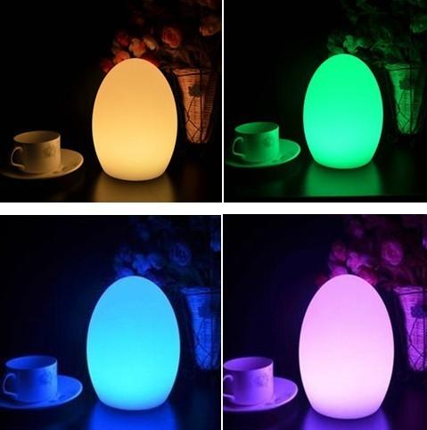 Frete grátis LED lâmpada mesa de bar de quebra resistente, Recarregável LED brilhante de ovo noite para o natal