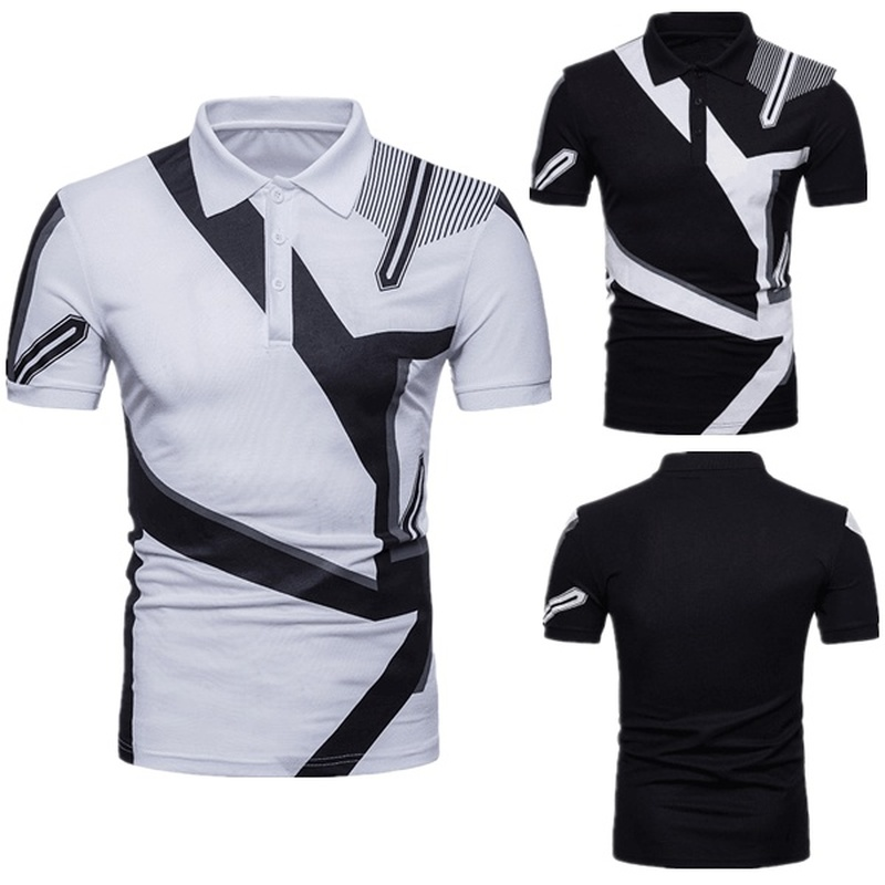 ZOGAA 2019 Mens Short Sleeve   Polo   Shirt Casual Color Matching Striped Men Business Lapel Black and White Breathable   Polos   Men