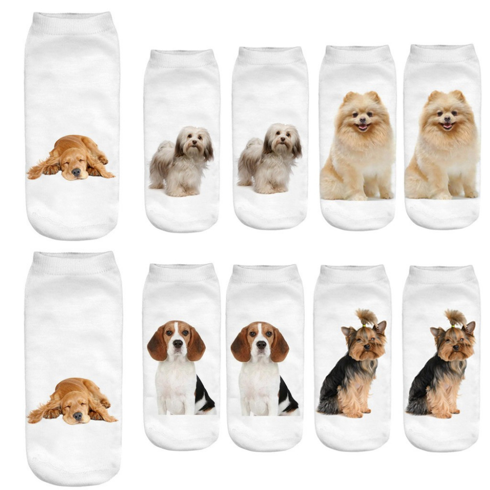 Women   Socks   Women 3D Cartoon Funny Crazy Cute Dogs Amazing Novelty Print Ankle   Socks   Comfortable Sports Breathable   Socks   #35