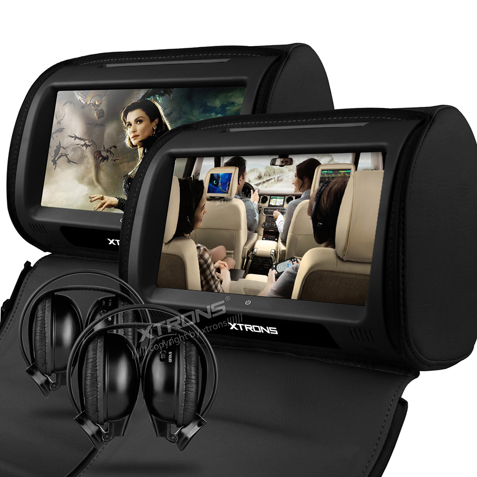 2×9″ Headrest Car DVD Player Support 32 Bits Games Cover With Zipper Built-in IR FM Seatback Digital Touch Screen Pillow Monitor