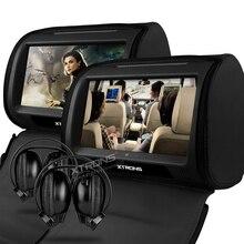 """2×9 """"kafalık Car DVD Player Fermuar Ile Destek 32 Bit Oyunları Kapak Dahili IR FM Koltuk Arkalığı Dijital Dokunmatik Ekran Yastık Monitör"""