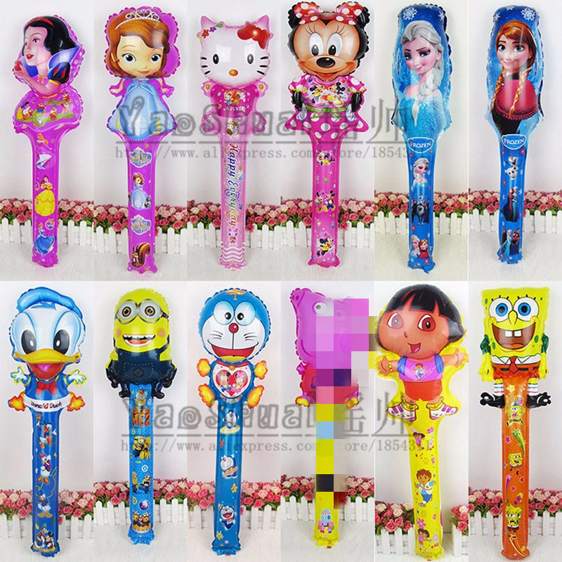 Lucky 200pcs lot Minions Dora Hello Kitty Snow White Cheering Sticks Balloon Foil Air Balloons Birthday
