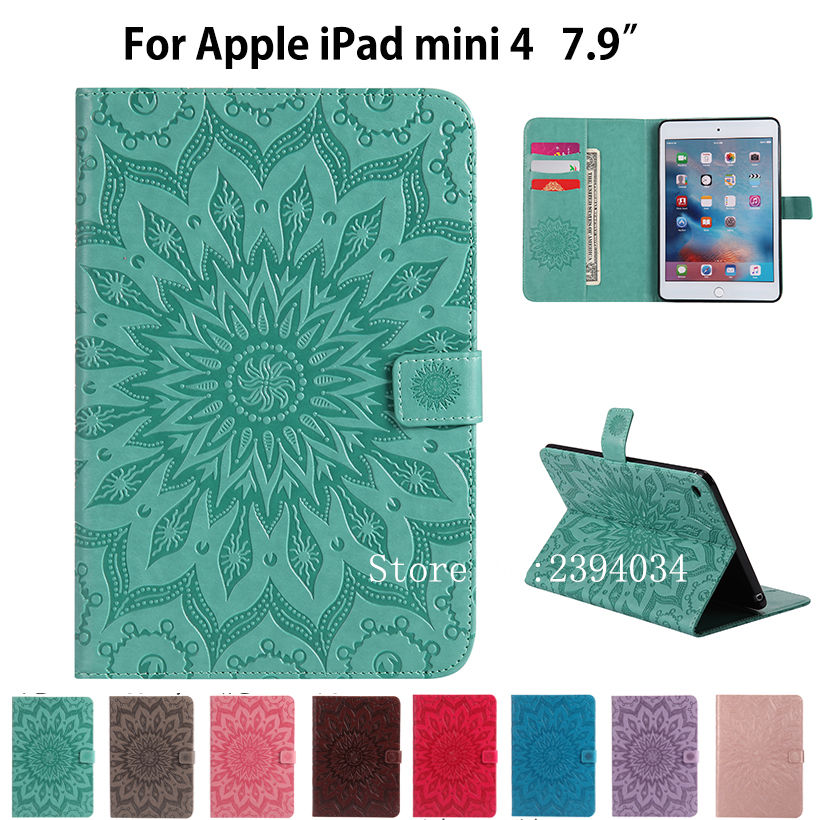все цены на For Apple iPad mini4 Case Cover High quality Silicone PU Leather Flip Stand Cases For iPad mini 4 Cover Funda Tablet Skin Shell