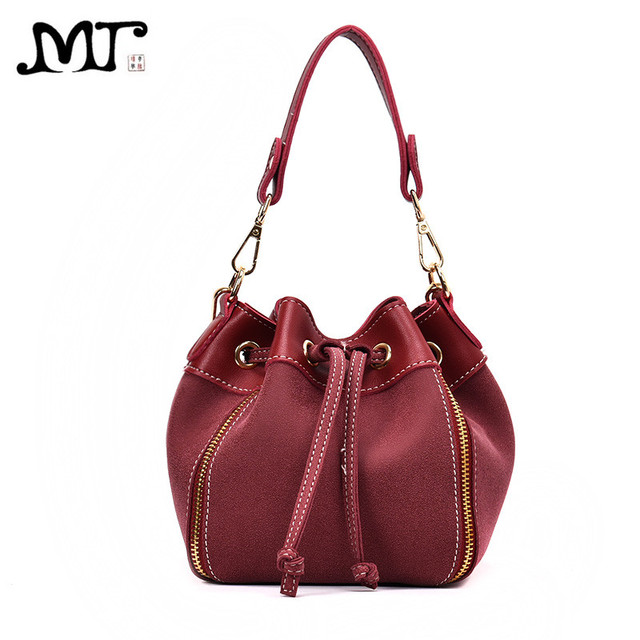 Mj Women Leather Handbags Vintage Suede Pu Crossbody Bag Drawstring Bucket Female Small Messenger