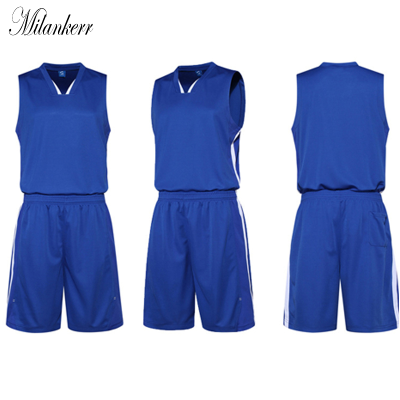 Blank Basketball Jersey Sets Men Training Suit Team Uniforms Breathable Quick-dry Sports Shirt+Shorts Set Outdoor Running Tracks