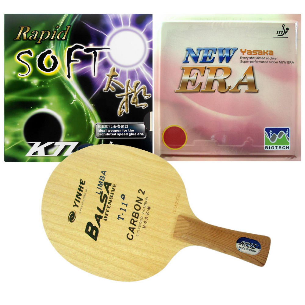 Pro Table Tennis PingPong Combo Racket Galaxy YINHE T-11+ with KTL Rapid SOFT and NO ITTF Yasaka ERA-40mm Long shakehand FL