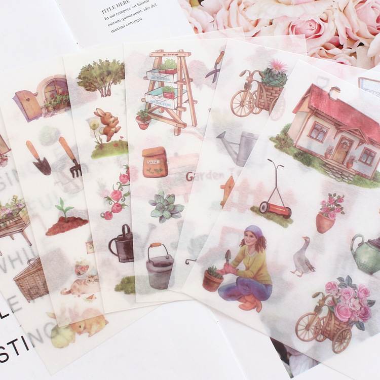 6 Sheets/pack Gardening Arts Decorative Stickers Scrapbooking Stick Label Diary Stationery Album Bullet Journal Stickers