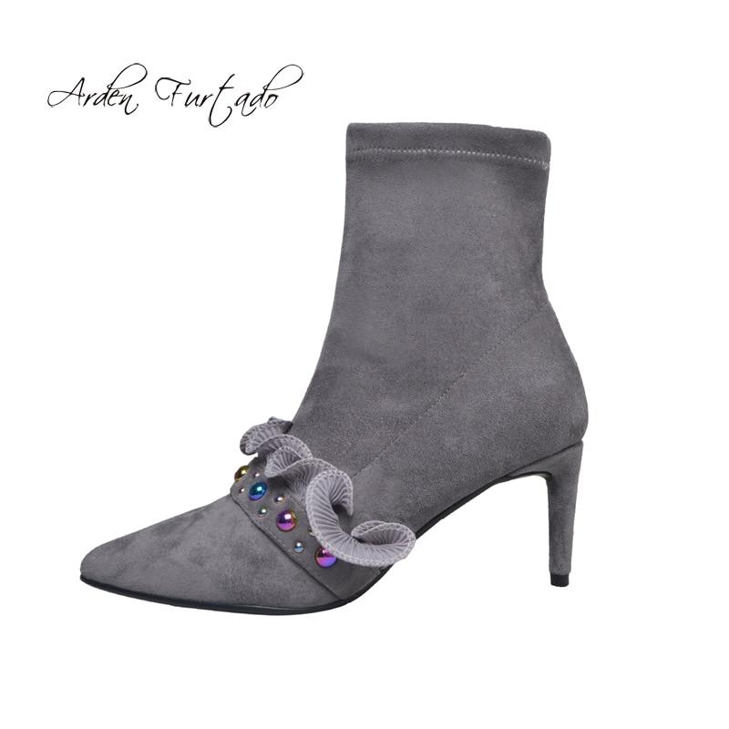 Dames Stretch Haute Chaussures Mode Gris De Hiver Arden Printemps Cheville 2018 Talons gray Furtado Bout Pointu Fuffles Cm Automne 6 Black Bottes w8nNvm0