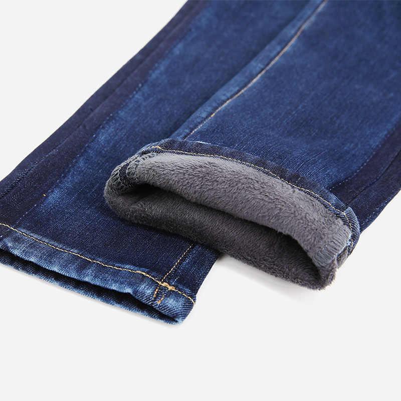 LEIJIJEANS nowy zima zagęścić Plus rozmiar L ciemny niebieski wysokiej talii bielone pełna długość boku cień Skinny ołówek zima dżinsy kobiety