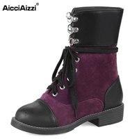 AicciAizzi נשים חורף מגפי נשות תחרה בוהן עגול עד אתחול נקבה אופנה מעורב צבע מתכת יומי Lesuire Footwears גודל 34-43
