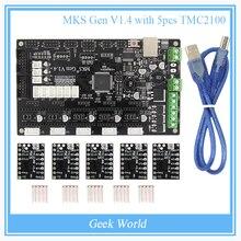 Últimas MKS Gen V1.4 Mega 2560 R3 motherboard RepRap Ramps1.4 tablero de control compatible con USB y 5 UNIDS TMC2100