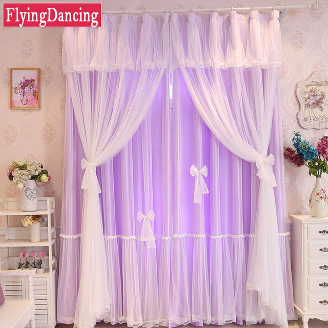 Lace Tulle+Cloth Curtains For Kids Baby Living Room Solid Curtain ...