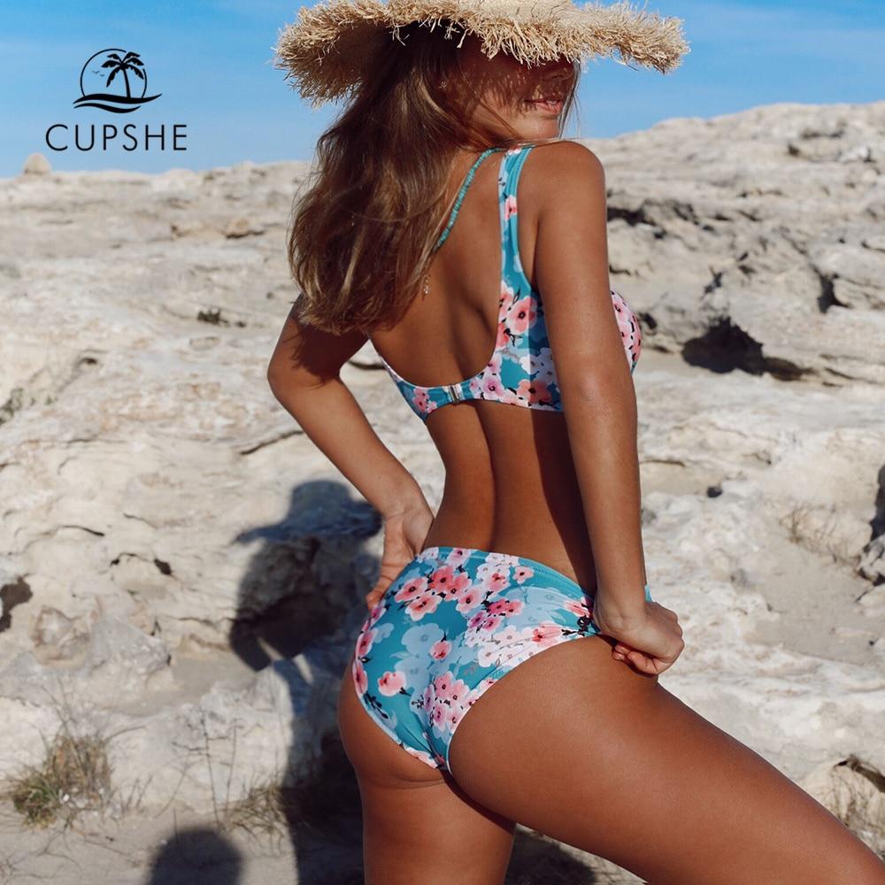 CUPSHE Double Knot Floral Print Bikini Sets Women Sexy Thong Two Pieces Beach Bathing Suits 2020 Girl Boho Swimwear 4