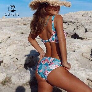 Image 5 - Cupshe Dubbele Knoop Bloemenprint Bikini Sets Vrouwen Sexy Thong Twee Stukken Strand Badpakken 2020 Girl Boho Badmode