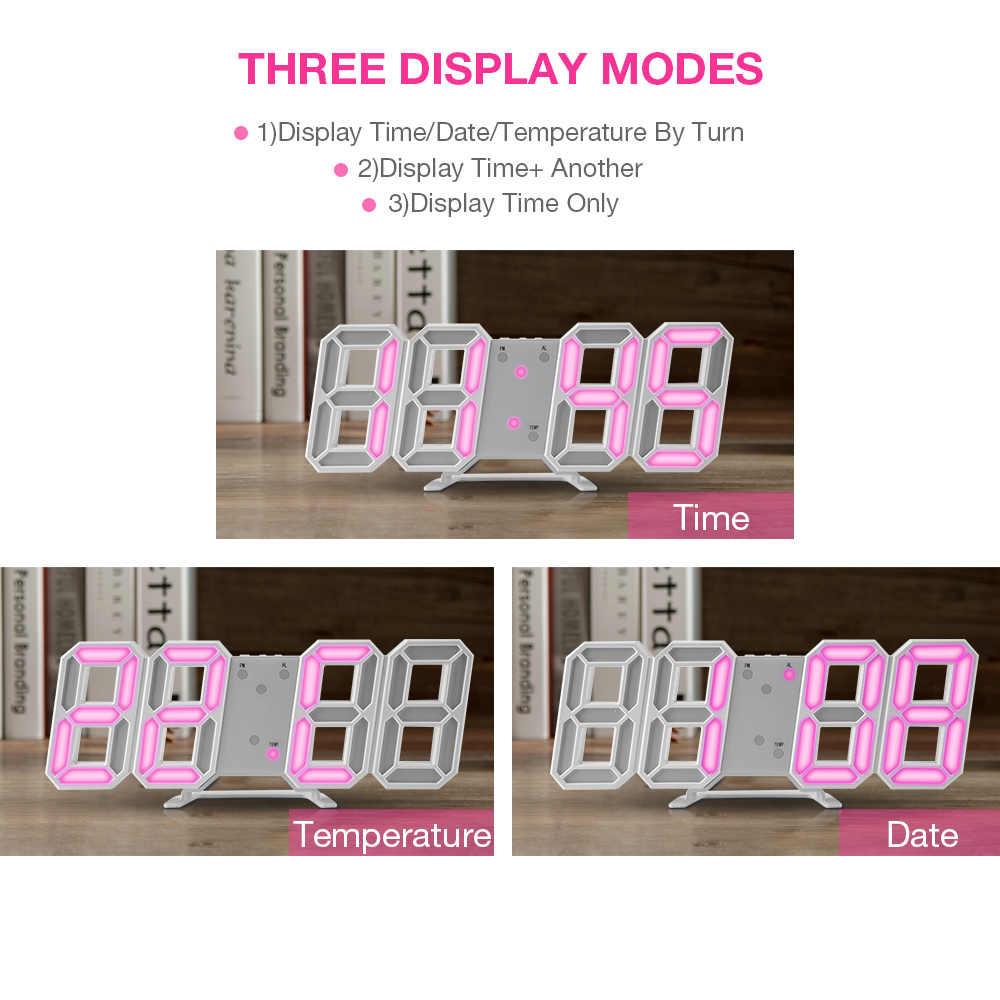 Panas! 3D LED Jam Dinding Digital Modern Meja Dinding Jam Desktop Jam Alarm Lampu Malam Saat Jam Dinding untuk Rumah Tinggal kamar
