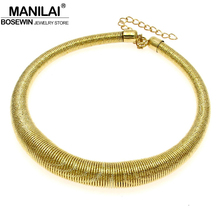 MANILAI Fashion Shining Spring Metal Neck Fit Torques Collar Chokers Women Party Wear Statement Necklace Design Punk Jewelry