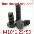 20 шт высококачественная сталь с черной M10 * 1 25 тонкой резьбой шестигранные болты длиной 50 мм