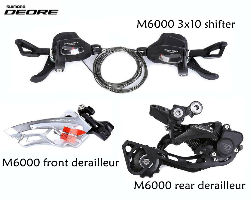 SHIMANO DEORE M6000 M610 3x10 speed Trigger Shifter + Rear Derailleur + Front Derailleur Groupset 30 speed bicycle mtb 3x10 30 speed front rear shifter derailleur groupset for shimano m610 m670 m780 system